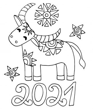Year of the Ox 2021 Colouring Page 2