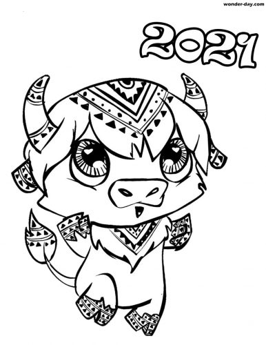 Year of the Ox 2021 Colouring Page 3